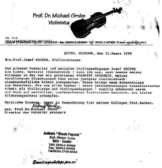 Josef Aschan: Empfehlungsschreiben von Prof.Dr. Michael Grube ...