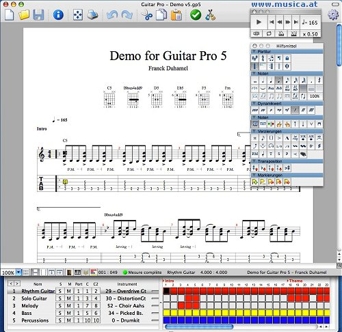 Guitar guitar tablature writer : Guitar Pro 6, english