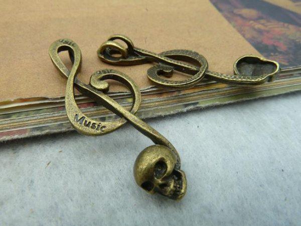 Anhänger Violinschlüssel mit Totenkopf